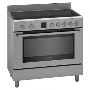 Bosch Free Standing Electric Cooker with Electric Oven and Glass Ceramic Cooktop 5 Zones 89cm Stainless Steel - HKK99V859M