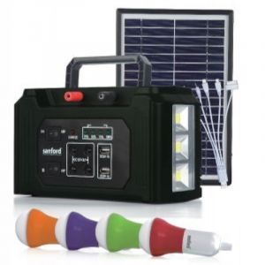 SANFORD Power Station 2 USB ports, 4 external LED bulbs, 15 hours working time, solar charging panel, 3 LED lamps, Black - SF4999 PS