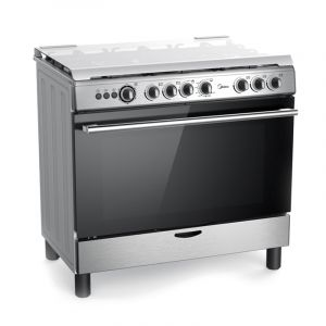 Midea gas oven size 60 × 90 cm ,5 Burner gas 1 Double Burner , Self-Ignition, full safety, Steel - 36LMG5G028