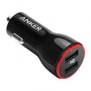 Anker PowerDrive 2 Car Charger, 24W, USB 2-Port, Black - A2310H11