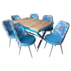 Extensible Dining Table with 6 Chairs - Alawood Blue