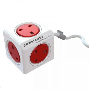 Allocacoc PowerCube Extended UK 3m, 5 EX , Red - 7304/UKEXPC - Blackbox
