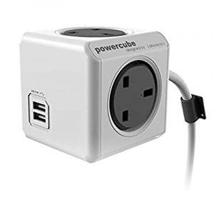 Allocacoc PowerCube Original UK 1.5m, 5 EX +2 USB, Gray - 7400GY/UKEUPC