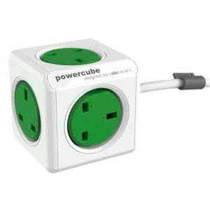 Allocacoc PowerCube Original UK 1.5m, 5 EX , Green - 7300GN/UKEXPC