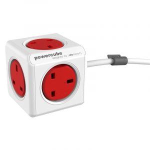 Allocacoc PowerCube Original UK 1.5m, 5 EX , Red - 7300RD/UKEXPC