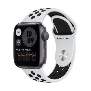Apple Watch Nike Series 6 GPS, 44mm Silver Aluminium Case with Pure Platinum/Black Nike Sport Band - Regular - MG293AEA