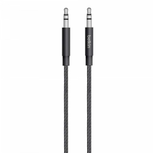 Belkin Premium 3.5MM Braided Tangle Free Auxiliary Cable , GRAY - BKN-AV10164BT04-GRY