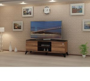 TV Table Without Stand 55-60 inches , Walnut - CR43-140HC - Installation is available for free inside Riyadh only