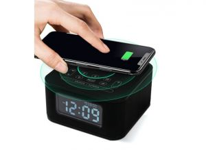 Homtiem D2qi Bluetooth Speaker with Alarm Clock and Wireless Charging Function