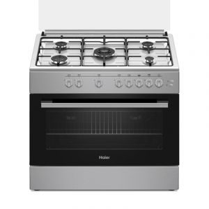 Haier Oven Gas Size 60×90 cm, 5 Burner,self-ignition,Timer, full safety,Turkey , Silver - ECR9052EGS
