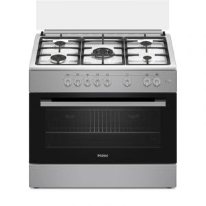 Haier Oven Gas Size 60×90 cm, 5 Burner,self-ignition,Timer, full safety,Turkey ,Classical Pro,Indoor Fan, Silver - ECR9053EGS