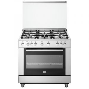 FRIGIDAIRE 5 Burner Gas Cooker Dual Heating Oven and Grill with Full Safety, 90X60cm - FNGC90JSRS