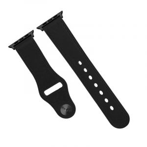 Promate Genuine Leather Strap 42mm Apple Watch , Black - GENIO-42.BLACK