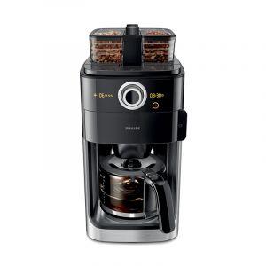 فيليبس ماكينة تحضير القهوه مع ابريق زجاج, 1.2 لتر, 1000 واط, شاشة عرض, خزان 8-12 كوب, اسود - HD7762