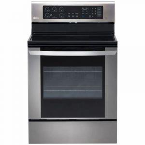 ال جي فرن كهرباء سيراميك  مقاس 65×76 سم ,عدد 5 عين, تنظيف ذاتي,مروحة الطهي مزوده بسخان ,استيل  - LRE3163ST