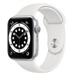 Apple Watch Series 6 GPS, 44mm Silver Aluminium Case with White Sport Band - Regular - M00D3AE/A
