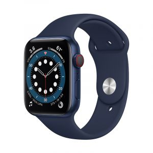 Apple Watch Series 6 GPS + Cellular, 44mm Blue Aluminium Case with Deep Navy Sport Band - Regular - M09A3AE/A