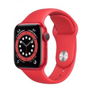 آبل ساعة سيريس 6 مقاس 44 مل مع خاصية الاتصال , جي بي إس , اطار ألمونيوم , احمر - M09C3AE/A