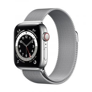 Apple Watch Series 6 GPS + Cellular, 44mm Silver Stainless Steel Case with Silver Milanese Loop - M09E3AE/A