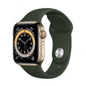 Apple Watch Series 6 GPS + Cellular, 44mm Gold Stainless Steel Case with Cyprus Green Sport Band - Regular - M09F3AE/A