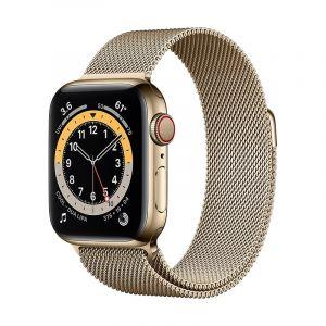 آبل ساعة سيريس 6 مقاس 44 مل مع خاصية الاتصال , جي بي إس , اطار استيل, ذهبي ستيل - M09G3AE/A