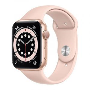 Apple Watch Series 6 GPS, 40mm Gold Aluminium Case with Pink Sand Sport Band - Regular, Gold - MG123AE/A