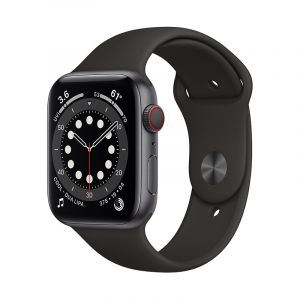 Apple Watch Series 6 GPS + Cellular, 44mm Space Grey Aluminium Case with Black Sport Band - Regular - MG2E3AE/A