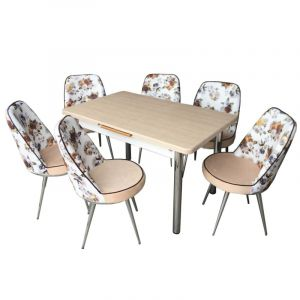 Extensible Dining Table with 6 Chairs , Cream - Misra Cream