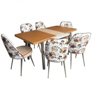 Extensible Dining Table with 6 Chairs - Misra Walnut