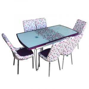 Extensible Dining Table with 6 Chairs , Purple - Moda Lila