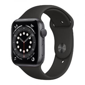 Apple Watch Series 6 GPS, 44mm, Aluminium Case with Black Sport Band, Regular, Space Gray - MOOH3AE/A