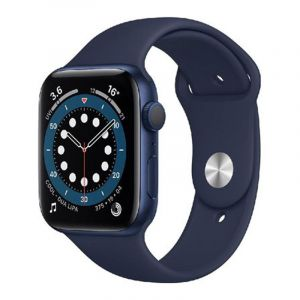Apple Watch Series 6 GPS, 44mm Blue Aluminium Case with Deep Navy Sport Band - Regular - MOOJ3AE/A