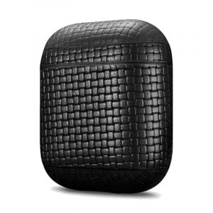 More.Plus Woven Pattern Series Leather Airpods Case, Black - MP2555