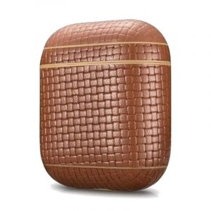More.Plus Woven Pattern Series Leather Airpods Case, Brown - MP2556