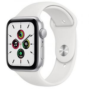 Apple Watch SE GPS, 44mm Silver Aluminium Case with White Sport Band - Regular - MYDQ2AE/A