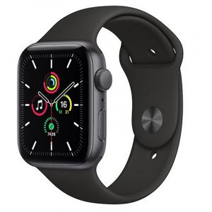 Apple Watch SE GPS, 44mm Space Gray Aluminium Case with Black Sport Band - Regular - MYDT2AE/A