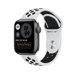 Apple Watch Nike SE GPS, 40mm Silver Aluminium Case with Pure Platinum/Black Nike Sport Band - Regular - MYYD2AEA