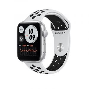 Apple Watch Nike SE GPS, 40mm Silver Aluminium Case with Pure Platinum/Black Nike Sport Band - Regular - MYYD2AEA