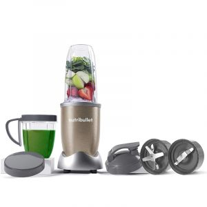 MagicBullet 900W Fruit Blender, With 10 Multi Sizes Pieces For Juice & Nuts, Gold - NB9-1012