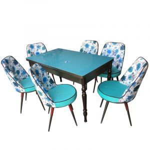Extensible Dining Table with 6 Chairs - Opera Blue