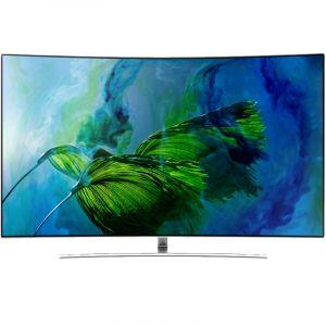 SAMSUNG Curved QLED TV 75, 4K Premium UHD, Smart,HDR ,Silver - QA75Q8CAMRXUM