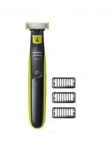 فيليبس ماكينة تشذيب الشعر وحلاقته , تحديد الحواف, 3 أمشاط للحية خفيفة قابلة للتثبيت, قابلة لاعادة الشحن , إستخدام رطب وجاف - QP2520/23