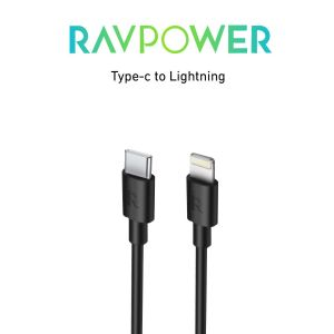 RAVPower C-Lightning Cable Charge, 1m, Black - RP-CB062