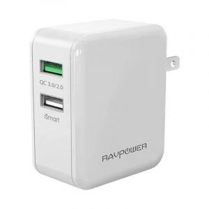 RAVPower Wall Charger 30W Dual Port (UK) , WHITE- RP-PC006