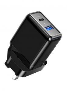 Roxxon PD+QC Charger UK plug, 18W, Black - RW-6901