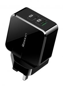 Roxxon PD+QC Wall Charger UK plug, 30W, Black - RW-6931