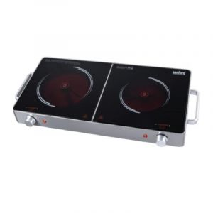 SANFORD Electric Cooker Induction, 2 Infrared Burners, Ceramic, Suitable for all cooking utensils, 2800W, Black - SF5194IC