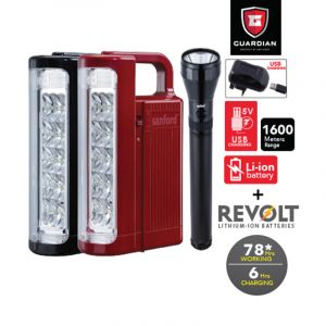Sanford Combo 3 In 1 Rechargeable LED Search Light + Emergency Lantern - SF6354SEC BS