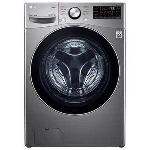 LG Washing Machine Front Load, 14 kg, Dry 100% 8 kg , Inverter Direct Drive, Wi-Fi, Silver/Steel - WS1408XMT
