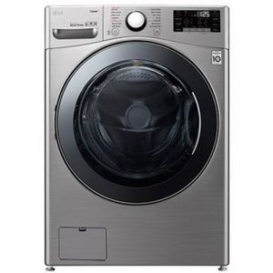LG Washing Machine Front Load, 19 kg, Dry 100% 11 kg , Inverter Direct Drive, Wi-Fi, Silver/Steel - WS1911XMT